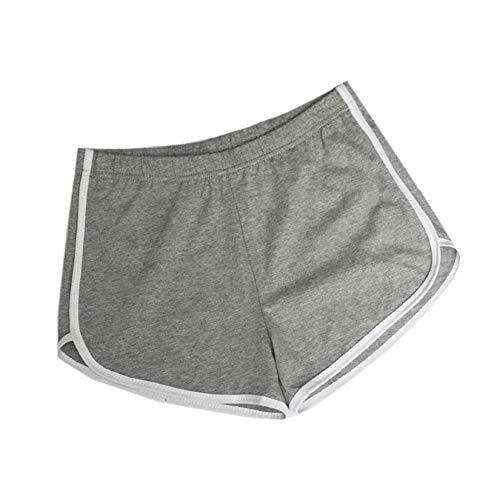 Voqeen Mujer Pantalones Deporte Cintura Elástica Verano Pantalones Cortos Deportivos Pantalones Casuales de Playa Cortos para Fitness, Running, Dormir (Gris, L)