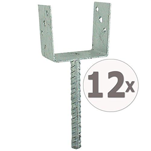 Gardopia Sparpaket: 12 x Uniqat Pfostenträger Pfostenanker U-Form 91mm mit 200 mm-Dolle, Feuerverzinkt