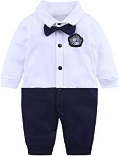 OCHENTA Newborn Baby Boys Long Sleeve Gentleman Outfit Formal Romper Infant Tuxedo Overall Suit