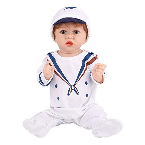 HWZZ Reborn Baby Doll Realistisches Schlafen Real Newborn Baby Ganzkörper Silikon Lebendig Handgemacht Öffnen Sie Ihre Augen Weicher, Lebendiger Junge,58cm