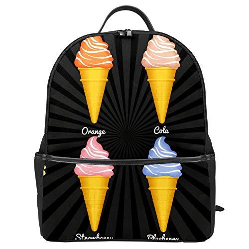 Snow Cones Flavors Pattern School Bag Backpack Canvas Rucksack Large...