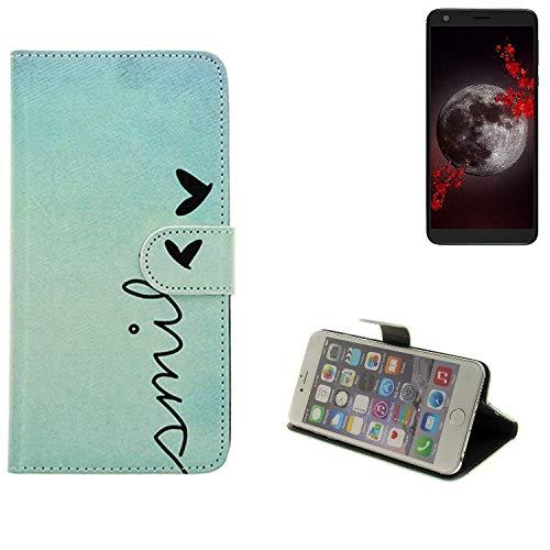 K-S-Trade® Schutzhülle Für Sharp Aquos B10 Hülle Wallet Case Flip Cover Tasche Bookstyle Etui Handyhülle ''Smile'' Türkis Standfunktion Kameraschutz (1Stk)