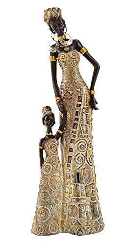 Geschenkestadl Afrikanerin mit Kind 32 cm groß Mutter Tochter afrikanische Frauen Figur Afrika