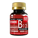 Vitamina B12 1000 mcg 500 compresse 1 al dì   energia   sistema immunitario   cianocobalamina metilcobalamina   non di origine animale