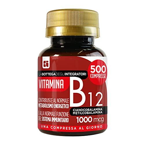 Vitamina B12 1000 mcg 500 compresse 1 al dì | energia | sistema immunitario | cianocobalamina metilcobalamina | non di origine animale