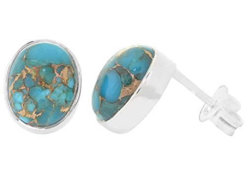 ERCE Turquoise-Copper Gemstone Earring Studs oval, 925 Sterling Silver