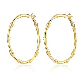 14K Large Bamboo Hoop Earrings for Women Bamboo Gold Hoops Big Gold Hoops Gold Hoop Earrings Stylish and Unique Earrings Simple Hoop Earrings Gift for Her…