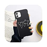 KANLX 世界地図TravelPlane Soft Phone case for iPhone 11 12 Mini Pro X XR XS Max 7 8 6 6s Plus 5s SE 2020 Love HeartTPU裏表紙-149-for iPhone 7 or 8