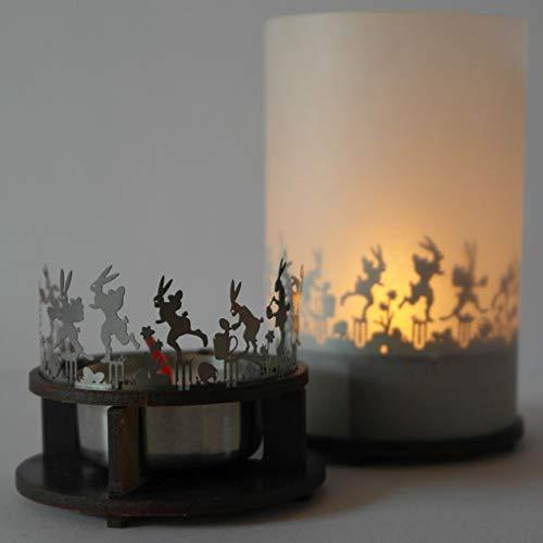 13gramm Ostern Windlicht Schattenspiel Premium Geschenk-Box, inkl. Kerzenhalter, Kerze, Projektionsschirm und Teelicht