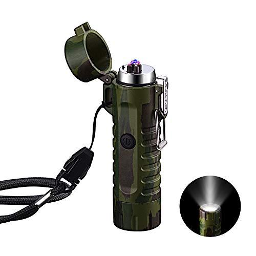 VOMONO Elektrisch Feuerzeug Winddichte, USB aufladbar Feuerzeug mit Taschenlampe Flammenlos für Grill, Herd, Kerzen und Outdoor Camping in Ausflüge Tarnung