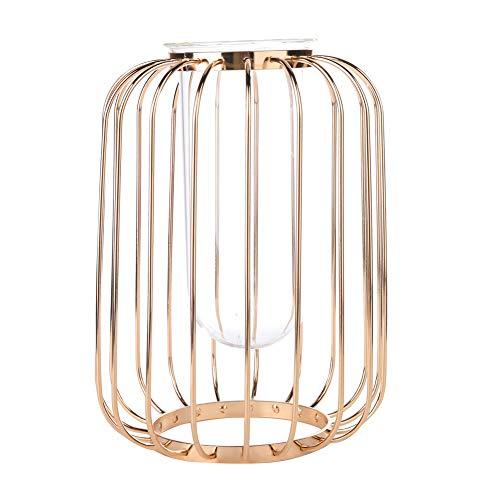 Gold Vase Nordic Schmiedeeisen Laterne-förmigen Blumenvase Glasröhre Metalldraht Kerzenhalter für Hochzeit Dekoration(Champagnergold)
