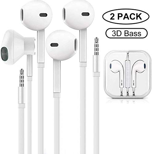 MOPIDICK 3.5mm in-Ear Wired Noise Cancellation Earbuds/Earphones/Headphones with Remote & Micphone Compatible with iPhone 6s plus/6/5s/5c/Pad/S10 Android All 3.5 mm Audio Devices (2 Pack)-white-01