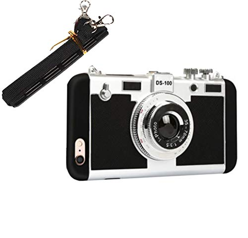 3D Vintage Style Camera Phone Case, Flexible TPU Soft Gel Protective Cover with Long Strap Rope, Mobile Back Skin Strap Accessories- For Ios All Series (Black, 11pro)