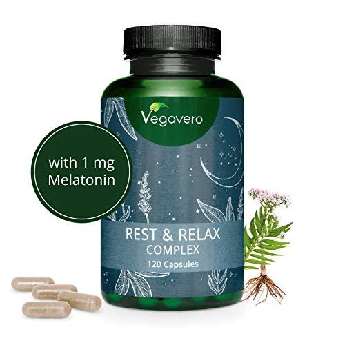 Complément Aide Sommeil Naturel Vegavero® | 120 gélules | Relax | Mélatonine + Valériane + Passiflore + Lavande + Bacopa | Sommeil Réparateur | Insomnie Sommeil | Rest & Relax Complex | Vegan