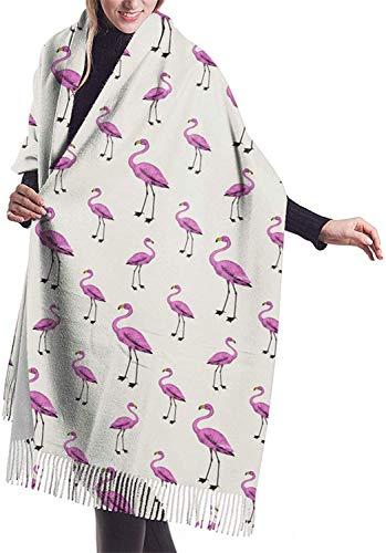 Linda bufanda de cachemira de mujer de flamenco, bufanda de invierno clásica borla bufanda,gran manta abrigo chal XXX