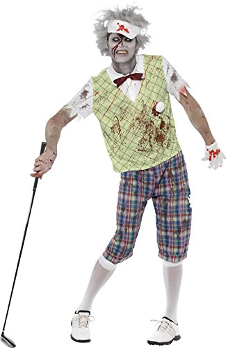 Smiffys Herren Zombie-Golfer Kostüm, Oberteil mit Latex Golfball und Fliege, Hose, Handschuhe und Visier, Größe: M, 23298