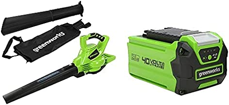 Greenworks Tools GD40BV Cordless Leaf Blower and Vacuum 2-in-1 (Li-Ion 40 V 280 km/Hour Air Speed 45 l Bag Speed Control P...