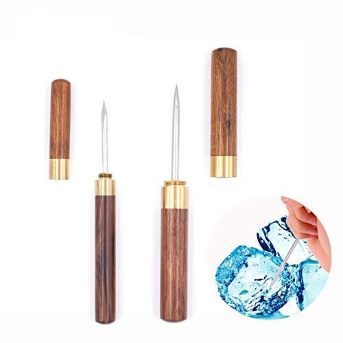 2 Stück Edelstahl Eispicker Eiszerkleinerer mit Holzgriff und Sicherheitsabdeckung Easy Grip Küchenwerkzeug für Küche, Bars, Barkeeper, Picknicks, Camping und Restaurant (braune Sandelholz)