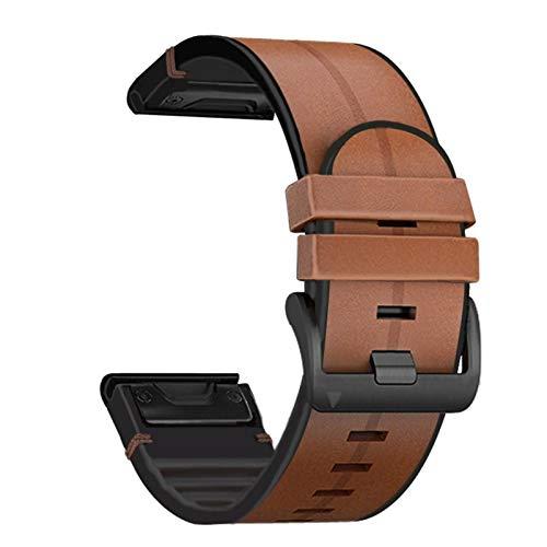 Abanen for Garmin Fenix 6X/Fenix 5X Quick Easy Fit 26mm Watch Band, Soft Genuine Leather Hybrid Silicone Sweatproof Wristband Strap for Fenix 6X Pro/Sapphire,Fenix 5X Plus,Tactix Delta,Fenix3(Brown)