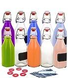 10 Bottiglie di Vetro da 250ml con Tappo Meccanico - Ermetiche - Con 10 Etichette - 10 Guarnizioni in Silicone Extra