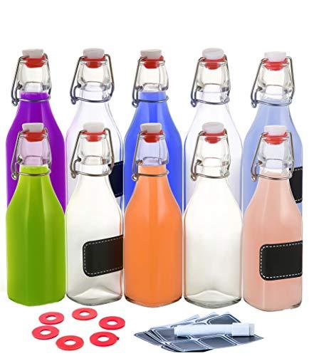 10 Botellas de Cristal con Tapon Mecanico de 250ml - Hermeticas - 10 Etiquetas y Marcador - 10 Juntas de Silicona Extra