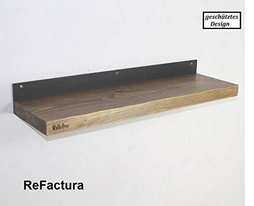 Wandregal aus Bauholz-Bohle und Stahl 40 cm - 200 cm