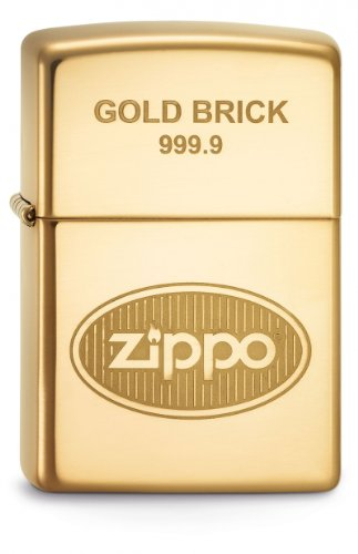 Zippo Lighter, Metal, Gold, One Size