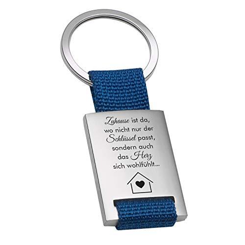 """Geschenke 24 Schlüsselanhänger """"Zuhause ist"""" (blau): Schlüsselanhänger personalisiert mit Spruch und Name Bedruckt - Autozubehör, Ankerpunkt - Geburtstagsgeschenk, Muttertag Vatertag"""