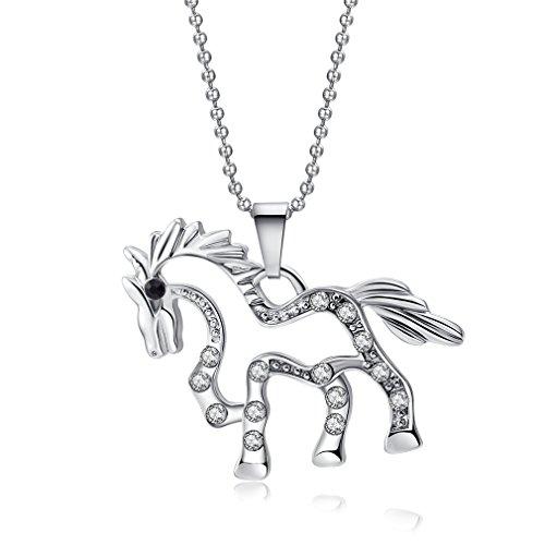 YAZIlIND Jewelry Schmuck silber Platium Kristall elegante Damen Halskette mit Anhänger Horse Pferd 45cm