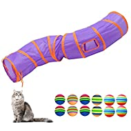BundleMall Cat Tunnel Pop-up Collapsible Pet Tube Interactive Play Toy with Ball Indoor Set for Kitt...