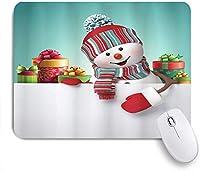 PATINISAマウスパッド 雪だるまとボックスクリスマスマルチカラー ゲーミング オフィス最適 高級感 おしゃれ 防水 耐久性が良い 滑り止めゴム底 ゲーミングなど適用 マウス 用ノートブックコンピュータマウスマット