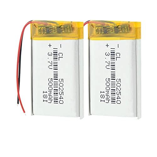 hsvgjsfa 3.7v 500mah 502540 Lipo Batería De Iones De Litio De PolíMero De Litio, Recargable para Batería De Grabadora De Conducción De Banco De Energía 2pieces