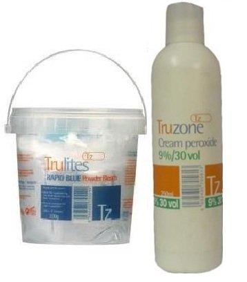 Blanchissant & Peroxyde Set Inclus 1 Crème Peroxyde 9% - 30 Vol 250ml & 1 Trulites Rapide Bleu Poudre Blanchissante 500g