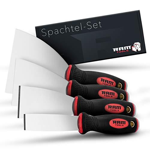 RAM TOOLS® Spachtel, Spachtel Set aus Edelstahl, 2x EXTRA stark zum Tapeten entfernen mit Anschliff und Metallkappe, 2x flexible Malerspachtel, Maler Werkzeug