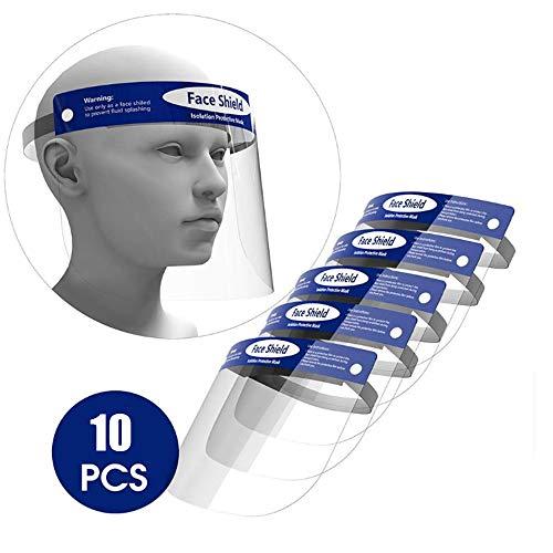 Safety Gesichtsschutzschirm, Allzweck-Gesichtsschutz, Gummiband und Komfortschwamm,Gesichtsschutz,Visier Gesichtsschutz,Sicherheits-Gesichtsschutz mit klarem Visier (10pack)