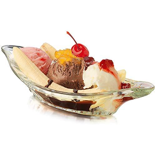 Crisa Banana Split Dish - Set of 4 - Banana Split Boat, Ice Cream Sundae Dish, Dessert Dish
