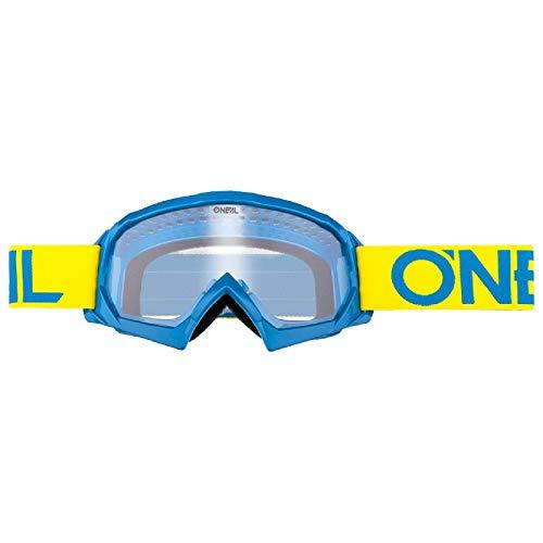 O'NEAL | Fahrrad- & Motocross-Brille | MX MTB DH FR Downhill Freeride | Hochwertige 1,2 mm-3D-Linse für ultimative Klarheit, UV-Schutz | B-10 Goggle | Erwachsene Unisex | Neon-Gelb-Blau | One Size