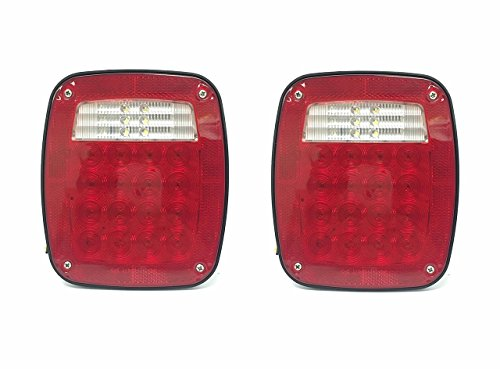 MaxxHaul 80685 Universal Square 12V Combination 38 LED Signal Tail Light - For Truck, Trailer, Boat, Jeep, SUV, RV, Vans, Flatbed ,2 Pack, Regular