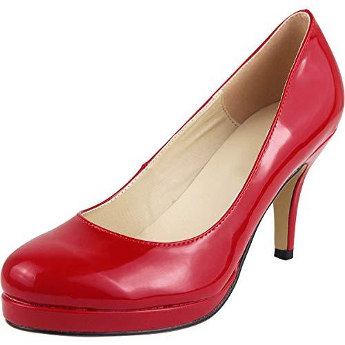 Wealsex Zapatos de Vestir para Mujer Charol Zapatos con Tacon Alto para Mujer Plataforma (Rojo,37)