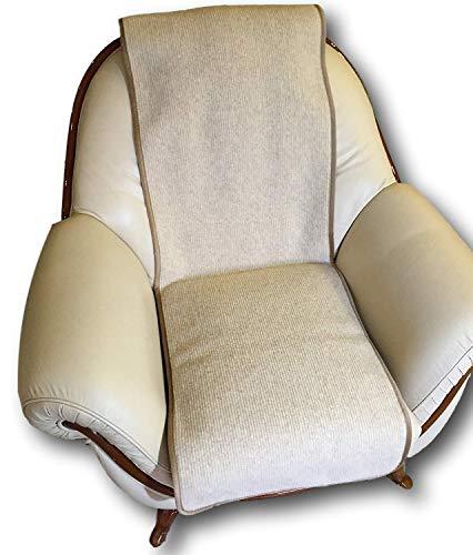 Alpenwolle Sesselschoner Wellenoptik beige 50x200 cm Sitzauflage Sesselüberwurf Sesselauflage 100% Wolle