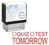 StampExpression - Quiz or Test Tomorrow Teacher Self Inking Rubber Stamp - Red Ink (A-80069)