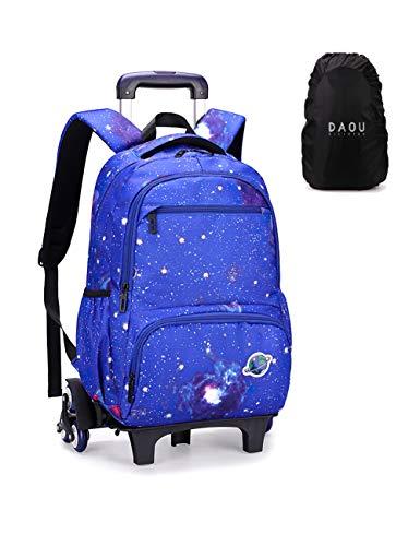 Mochila con Ruedas Equipaje Infantil Maleta Cabina Trolley Carro Bolsas Escolares Tipo Casual Escuela Cabina Niños Galaxia Cielo Azul
