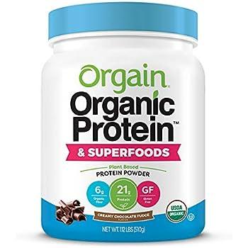 Orgain Organic Plant Based Protein + Superfoods Powder, Creamy Chocolate Fudge - Vegan, Non Dairy, Lactose Free, No Sugar Added, Gluten Free, Soy Free, Non-GMO, 1.12 lb