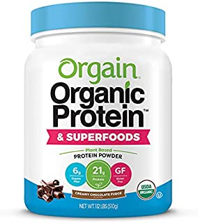 Orgain Organic Plant Based Protein + Superfoods Powder, Creamy Chocolate Fudge - Vegan, Non Dairy, Lactose Free, No Sugar ...