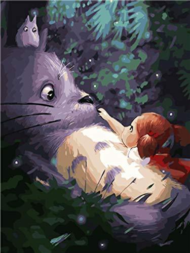Pintar por Numeros para Adultos Niños Mi Vecino Totoro DIY Pintura al óleo con Pinceles y Pinturas Decoración hogareña 16 x 20 Pulgadas / 40 x 50 cm Sin Marco