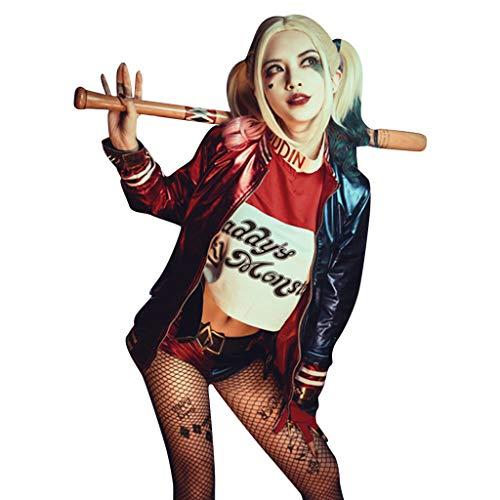 DreamJ Quinn Cosplay Kostüme für Erwachsene, Mädchen Bösewicht Suicide Kostüm Kit enthalten Jacke, T-Shirt, Shorts und Handschuh für Halloween Karneval Cosplay (XL)