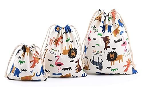 abaría 3 unidades bolsa de algodón con cuerdas Bolsa inserto organizador para viaje hogar animal beige