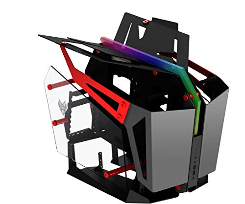 FSP T-Wings Dual System behuizing voor games of streaming, open frame PC computer met 2 geharde ruiten, EATX/ATX/Mini-ITX aluminium behuizing, ARGB lichtbalk, rood