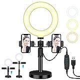 """GESMA LED Luz Anillo, Aro de Luz 6"""", Regulable 3 Modos de luz con Dos Ranuras para teléfono de Soporte para Streaming Makeup, Selfie, Maquillaje, TIK Tok, Youtube Volg"""
