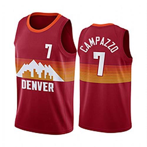 HTKJG 7# Campazzo Denver Nuggets Camiseta de Baloncesto para Hombre, 2021 Temporada Chaleco Deportivo de Secado rápido de Malla versión City (S-2XL) Red-XL